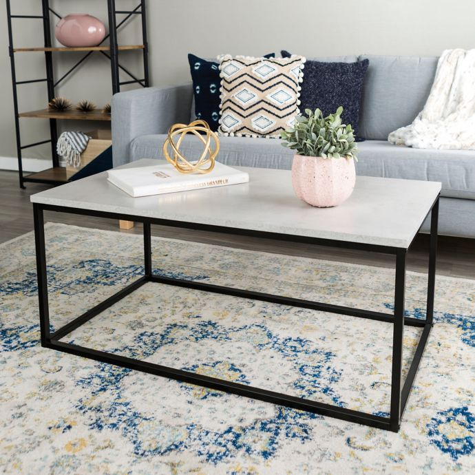 Forest Gate 42 Inch Mixed Media Faux Marble Coffee Table Faux