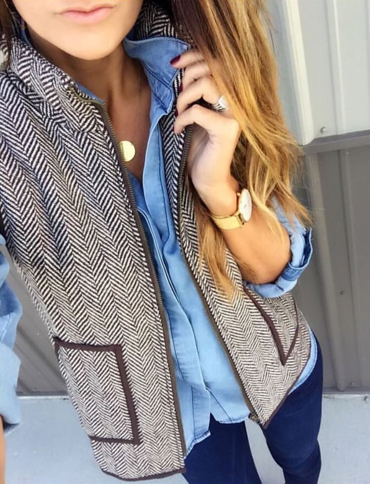 vest and denim