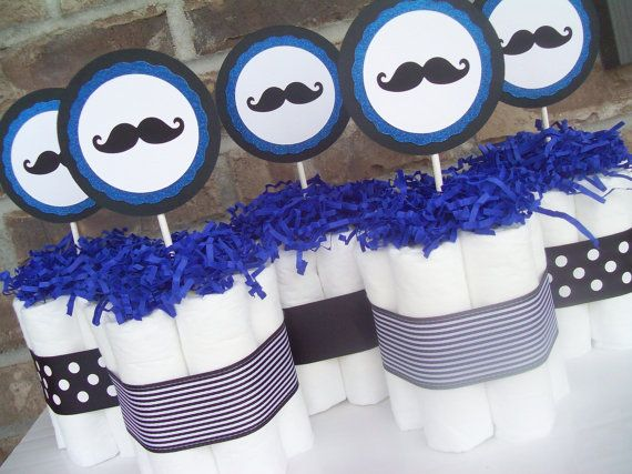 paper diaper for baby shower | Mustache Diaper Cakes-Set of 5-Baby Shower Decorations/Centerpieces