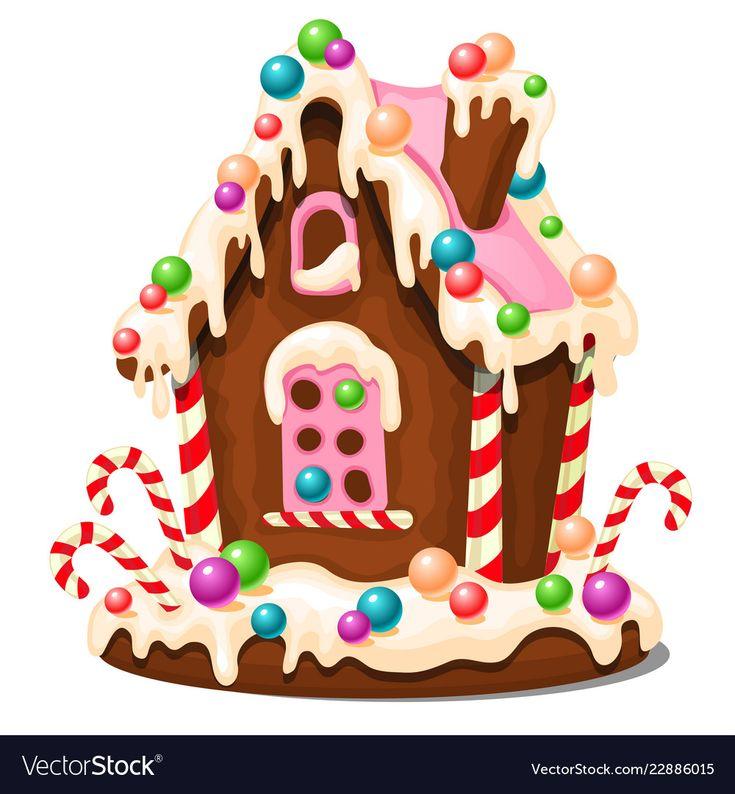 Festive Cake In Shape Of Village House Decorated Vector Image Dessert Illustration Gingerbread House Gingerbread