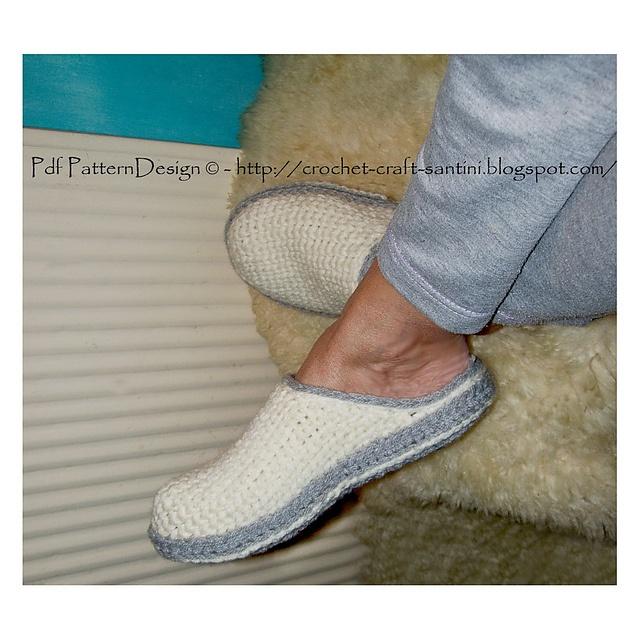Ravelry: PACKAGE for White Crochet/Knit Slippers + CROCHET-Soles / Sole Treatment.  Crochet Pattern by  Ingunn Santini