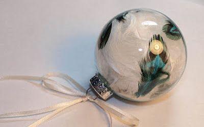 Bolas de navidad hechas con plumas decoraci n navide a - Bolas transparentes para decorar ...