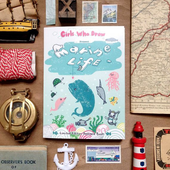 Marine Life - Postcard Book by Girls Who Draw, Limited Edition