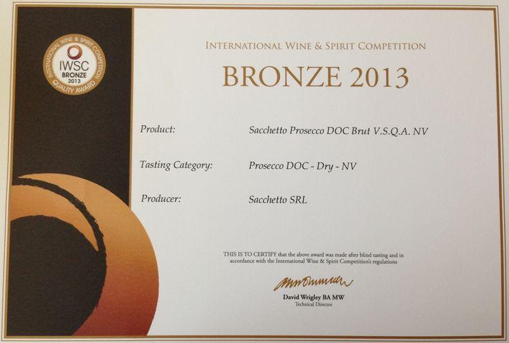 Bronze Medal for Prosecco doc Brut Sacchetto @IWSC 2013!