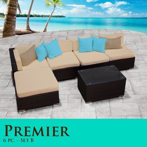 "Premier Modern 6 Piece Outdoor Wicker Patio Sofa Sectional Furniture All Weather Set 06B by TK Classics. $1243.00. Zippered cushion covers made with Outdoor UV Protected Fabric - Removable and Washable. Affordable and comfortable Modular Furniture allows for endless arrangement possibilities. ""No Sag"" solid wicker bottoms with extra flexible strapping providing long-lasting suspension. Strong and rust resistant Powder Coated Aluminum Frame for maximum durability. H..."