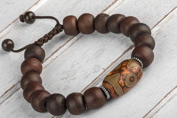 Wood Bracelet Men Bead Bracelet Men Mala by TribeAzureFairTrade