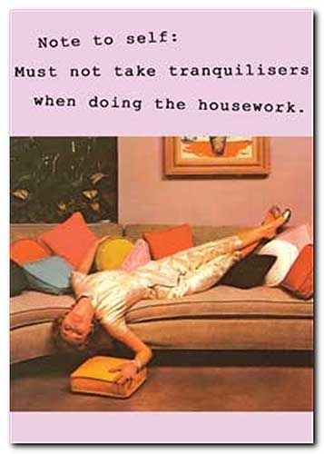 Note to self - must not take tranquilizers when doing housework - vintage funny quote