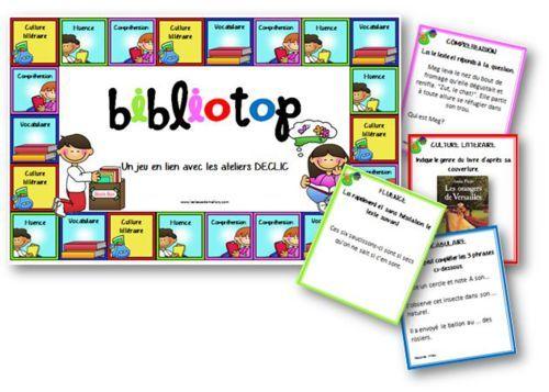 Bibliotop - jeu pour la lecture en lien avec DECLIC - Chaque carte entraîne une autre stratégie. Peut servir aussi d'évaluation des acquis lors des entretiens individuels La classe de Mallory