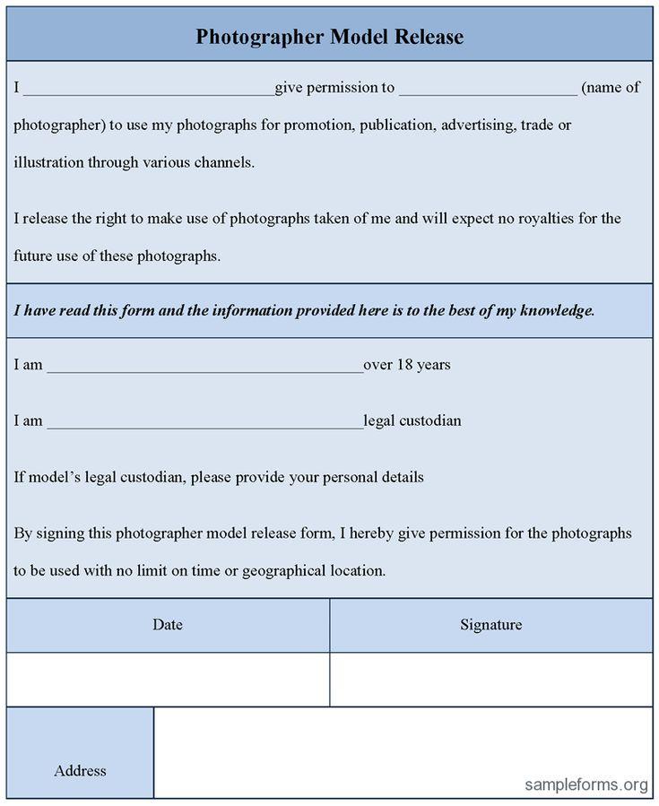 MODEL RELEASE FORM  | Model Release Form, sample Photographer Model Release Form ...