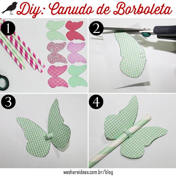 projeto diy de canudo com borboleta de papel para decorar festas infantis;