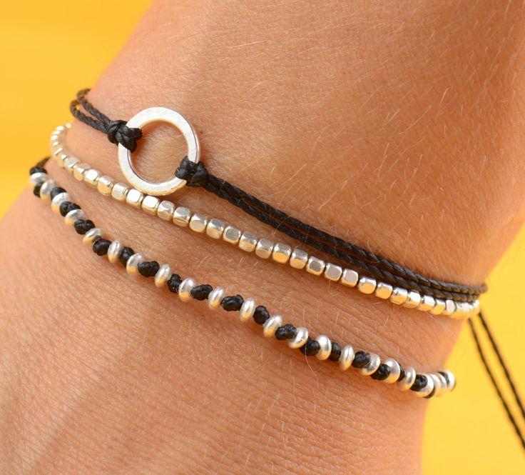 Sterling silver woven bracelet by Zzaval on Etsy
