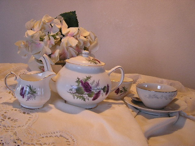 """my """"thistle"""" tea set . . purchased in Edinburgh on our first trip in 1995"""