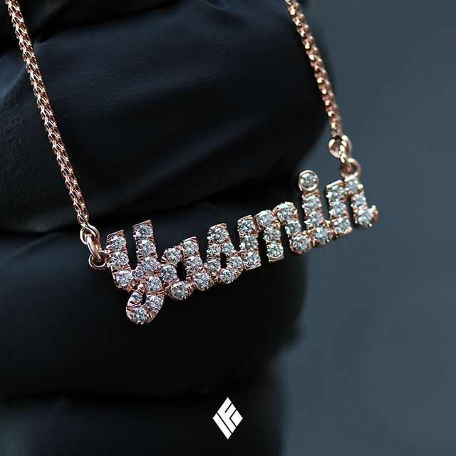 Solid 14k Rose Gold Yasmin Name Necklace Fully Iced Out With White Diamonds Custom Made T Star Charm Necklace Diamond Cross Pendants Diamond Cross Necklaces