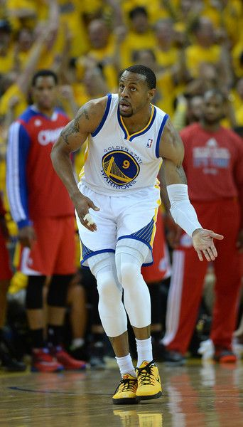 Description of . The Golden State Warriors' Andre Iguodala (9) celebrates his 3-point shot against the Los Angeles Clippers in the fourth quarter in game 6 of their Western Conference NBA playoff game at Oracle Arena in Oakland, Calif., on Thursday, May 1, 2014. (Dan Honda/Bay Area News Group)
