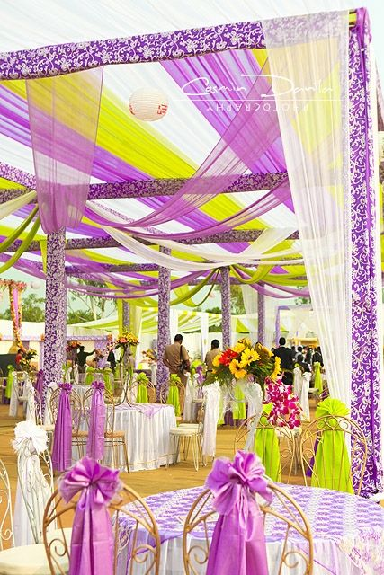 purple and lime green decor for daytime outdoors wedding  courtesy Cosmin Danila Photography  Shaadi Belles : Search, Save, & Share your South Asian Inspiration