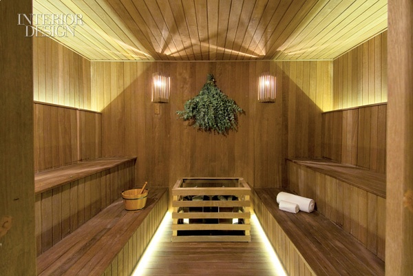I adore the lighting in this sauna!