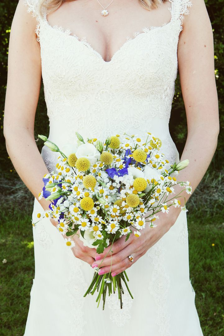 Hannah And Matthew S Yellow Blue Homemade Wedding Complete With Red Squirrels By Kat Timmins