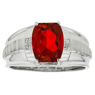 Cushion Cut Ruby Gemstone Diamond Men's Ring In White Gold Gemologica.com offers a unique selection of mens gemstone and birthstone rings crafted in sterling silver and 10K, 14K and 18K yellow, white and rose gold. We have cool styles including wedding and engagement rings, fashion rings, designer rings, simple stone and promise rings. Our complete jewelry collection of gemstone rings for men can be seen here: www.gemologica.com/mens-gemstone-rings-c-28_46_64.html