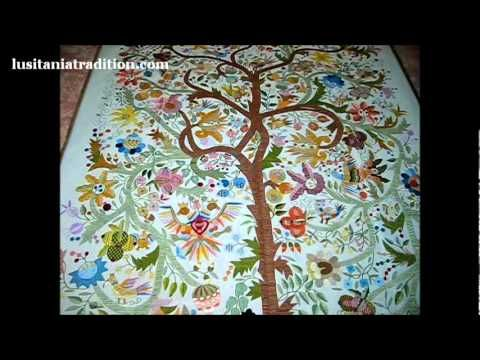 Castelo Branco Silk Embroidery Wall Tapestry - portuguese drawing of secular tradition : - Tree of Life with Knights