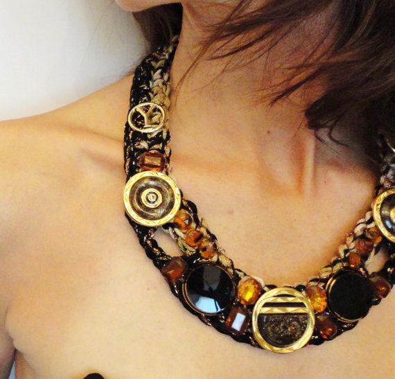 Vintage buttons necklace, cabuchon necklace, crochet necklace