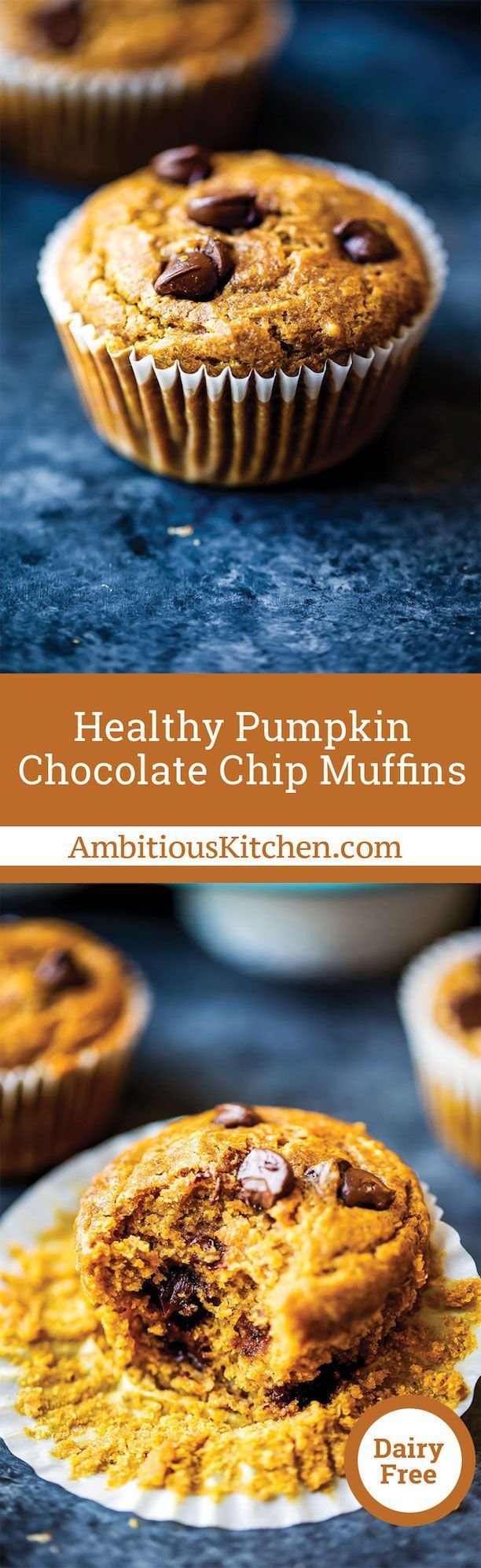 Pumpkin chocolate chip muffins made a little bit healthier. You'll love these satisfying muffins for a snack — freezer friendly and great for kids!