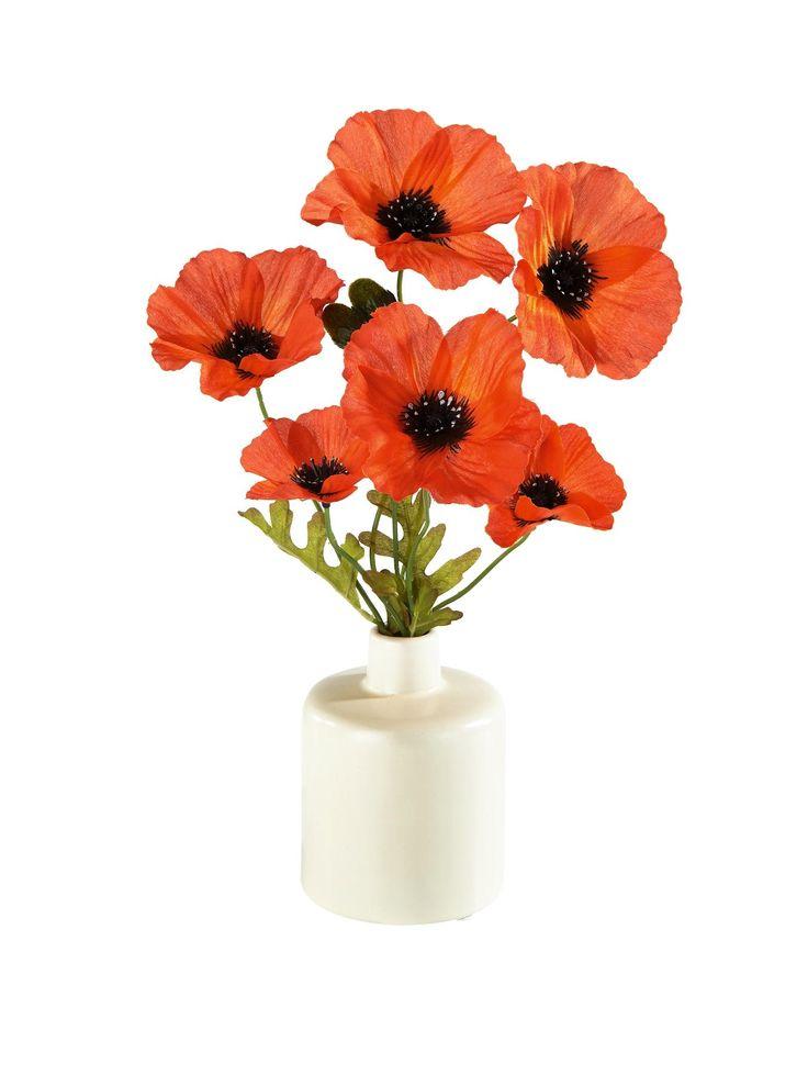 3 Poppies in Ceramic Vase | very.co.uk