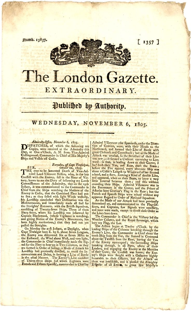 The Battle of Trafalgar and the death of Admiral Nelson, 6 November 1805, in the London Gazette.