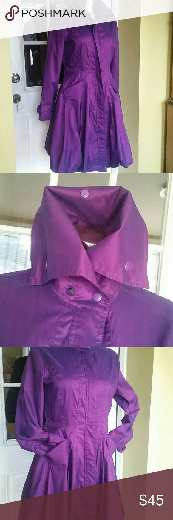 Gorgeous  purple  trench  coat Gently  used,very trendy, beautiful  color, pictures  don't  give  a justice,  size S,belt is not attached  Length  shoulders  down 39 inches  Waist circumference 30 inches  Chest  circumference  38 inches  Cute! Clean in&out Jackets & Coats Trench Coats