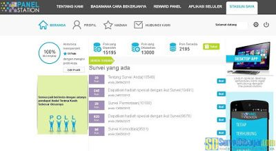 Dasbor akun The Panel Station Indonesia | Survei Dibayar