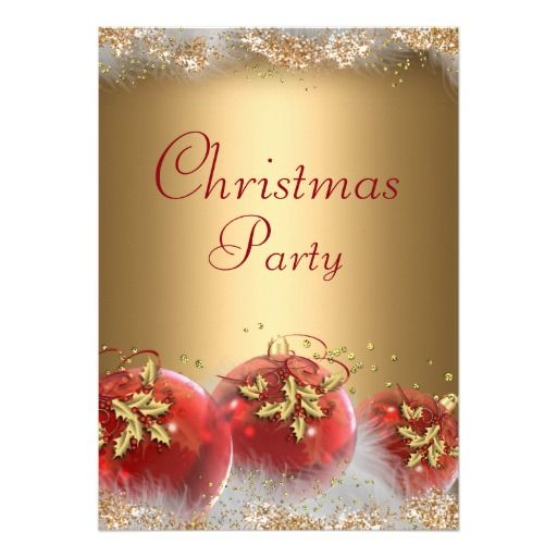 71 best christmas holiday party images on pinterest christmas red gold leaf baubles christmas party invite stopboris Gallery