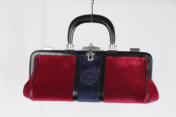ROBERTA Di CAMERINO Vintage Red & Blue Velvet Bagonghi Arzt Tasche MP