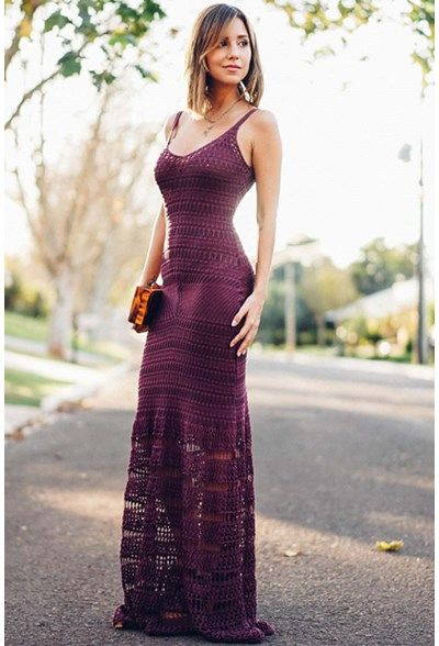 Vestido-Trico-Seventies-Uva | Galeria Tricot - Galeria Tricot