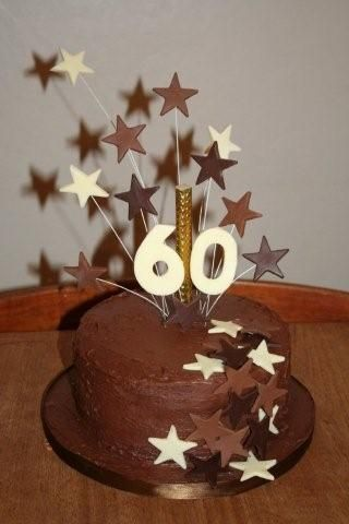 60th Birthday Cake - Chocolate fudge cake with Ganache filling and covering.  Stars and numbers are made from cocoform.