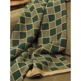 Plaid Knit Throw - Green