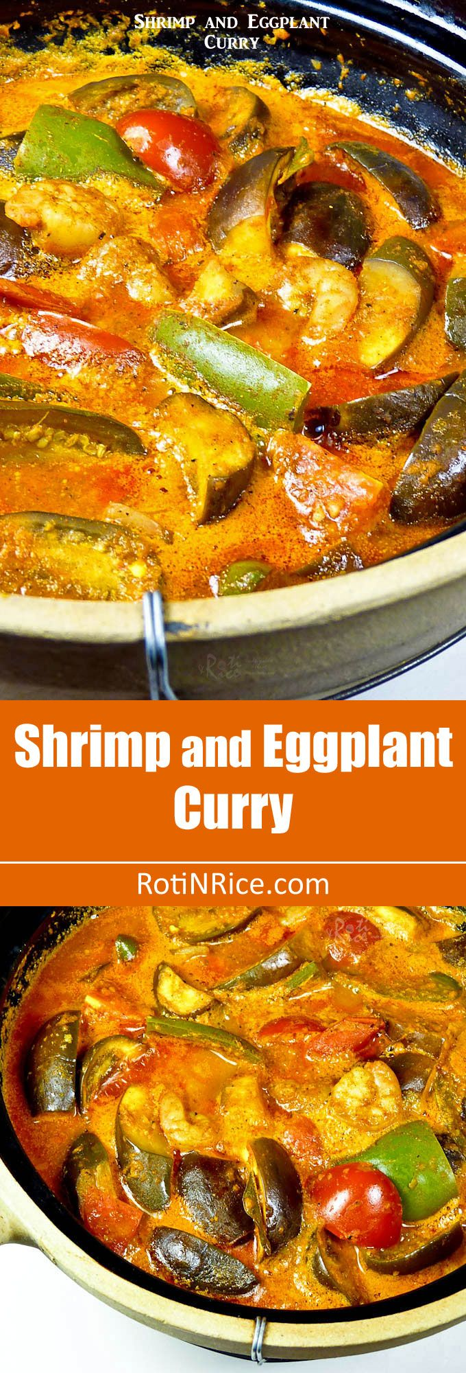 This spicy tangy Shrimp and Eggplant Curry is delicious served with steamed rice and papadums. Can be prepared in 30 minutes. | RotiNRice.com