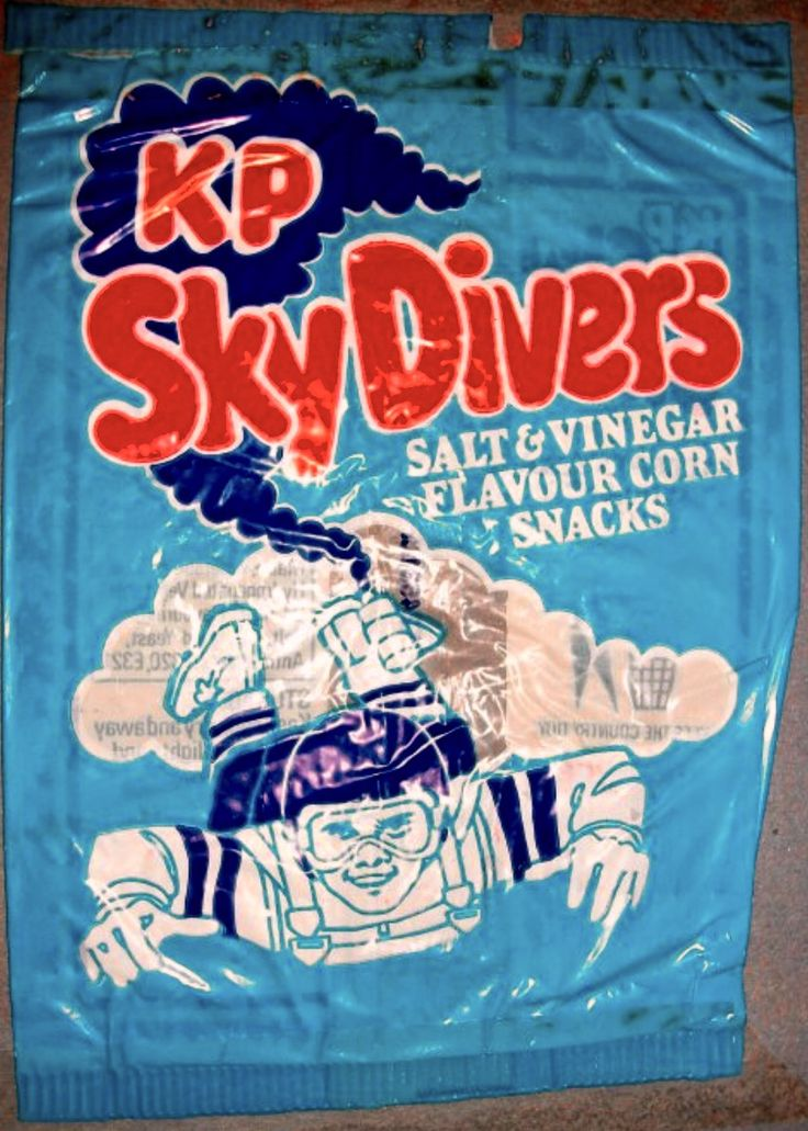 Sky Diver crisps - used to buy these from Liptons in Lordswood. The crisps were in the shape of little stick men with a round hoop for the head.