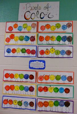 1st Grade Birds of a color - payons to mix colors.  Color Theory