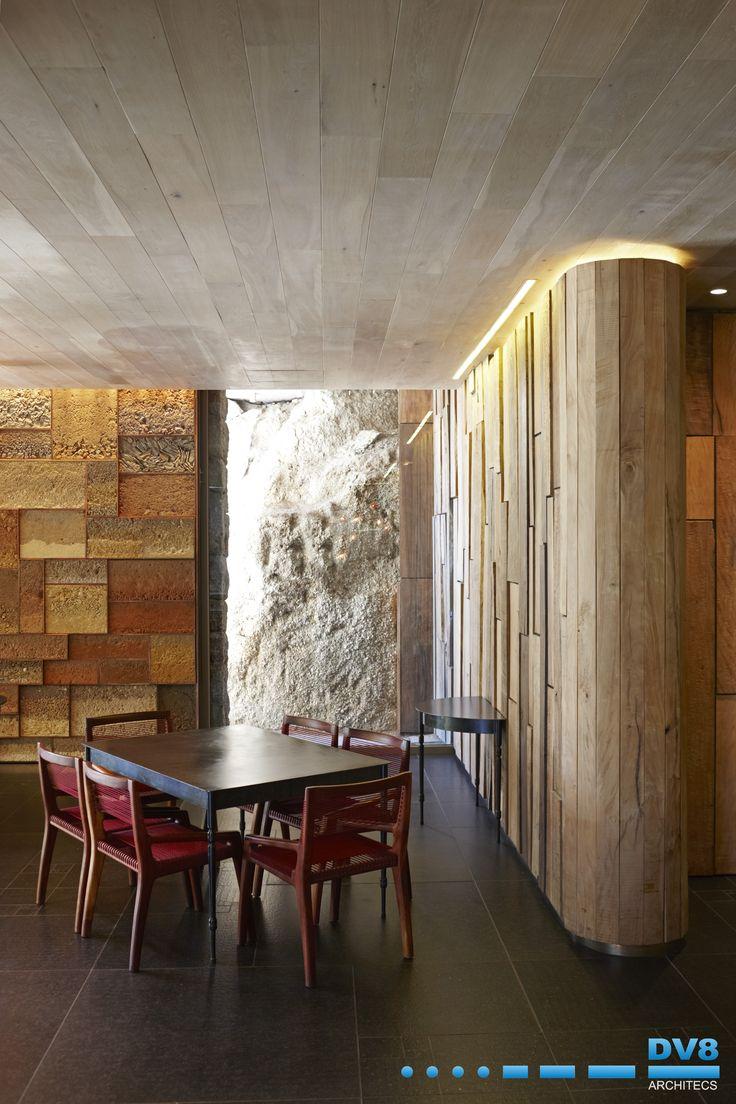 Ellerman Wine Gallery. Matumi wall panels with oak ceilings and terroir wall