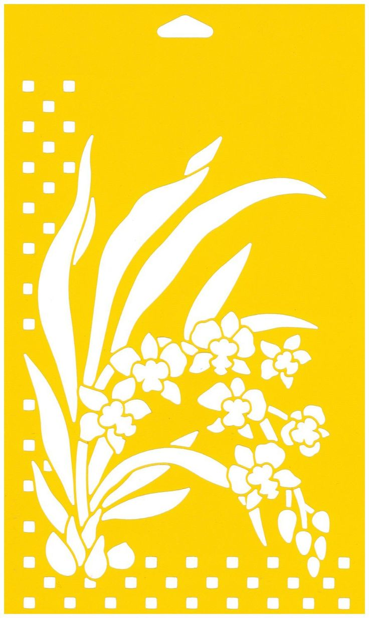 """Amazon.com: 12"""" x 7"""" (30cm x 17.5cm) Reusable Flexible Plastic Stencil for Cake Design Decorating Wall Home Furniture Fabric Canvas Decorations Airbrush Drawing Drafting Template - Bunch of Wild Orchids Flowers Leaves"""