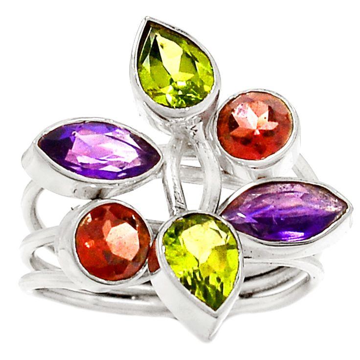 Amethyst, Peridot & Garnet 925 Silver Ring Jewelry s.8.5 RR29150
