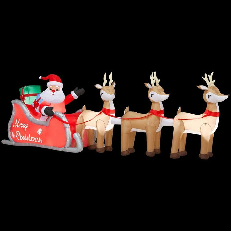 22 best lighted inflatable santa sleigh and reindeer for Inflatable christmas decorations home depot