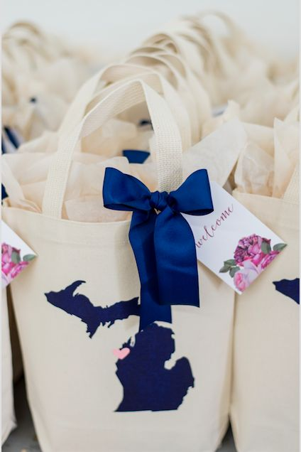 CUSTOM MICHIGAN WEDDING WELCOME GIFT BAGS. Marigold & Grey creates artisan gifts for all occasions. Order online or inquire about custom gift design. www.marigoldgrey.com Image: Red October Photography