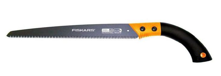 Fiskars 9357 13-Inch Fixed Handle Pruning Saw. Triple ground power tooth blade. Impulse hardened teeth provide added strength, while leaving the rest of the blade flexible. Non-stick coating enhances cutting efficiency. Non-slip grip for comfort and control. 13-Inch blade length provides ultimate versatility.