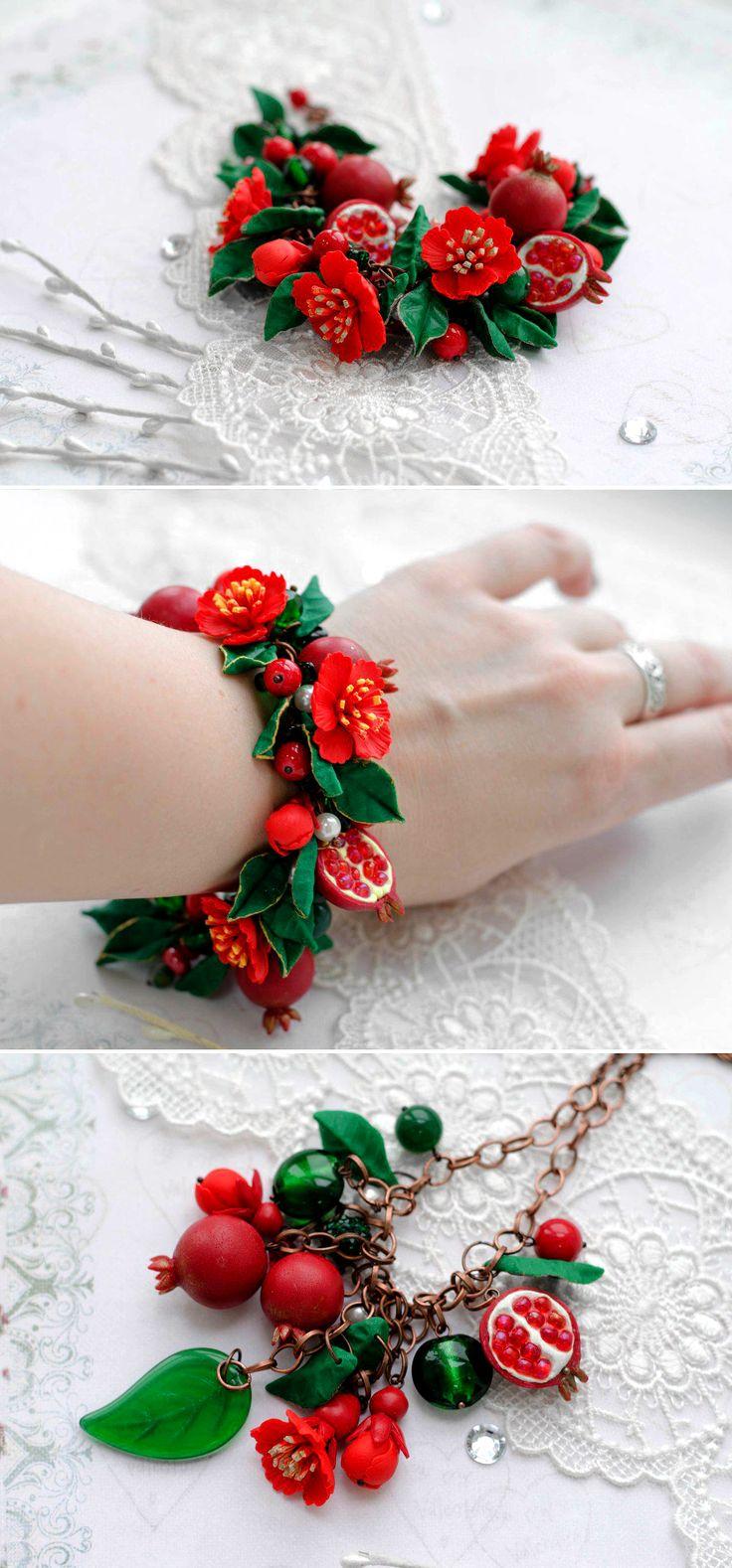Polymer Clay Bracelet with Gemstone Beads | Браслет из полимерной глины «Гранат в цвету» с натуральными камнями — Купить, заказать, браслет, гранат, камень, глина, полимерная глина, ручная работа