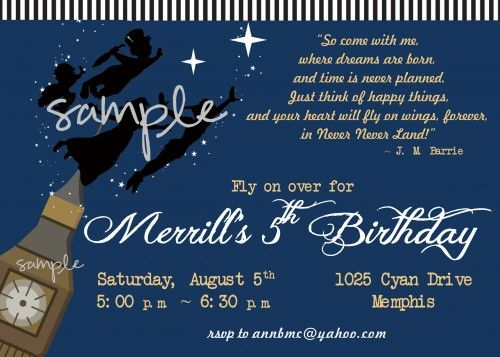 44 best images about BOY Birthday Party Invitations – Neverland Party Invitations