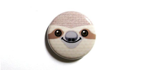 Sloth Face One Inch Pinback Button