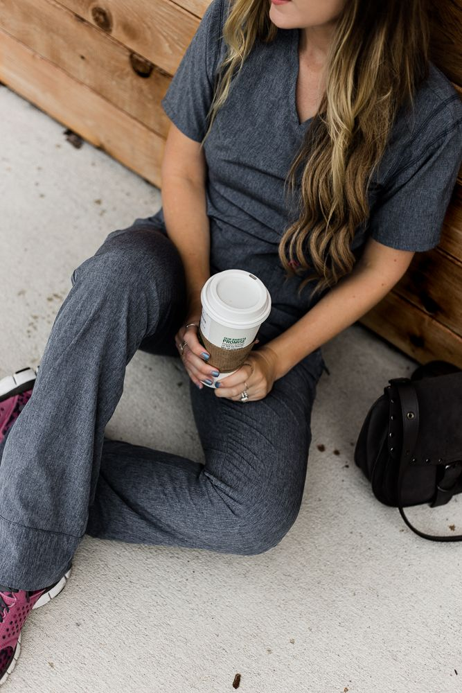 Shannon Jenkins of Upbeat Soles styles a cute medical scrubs outfit with Landau Smitten