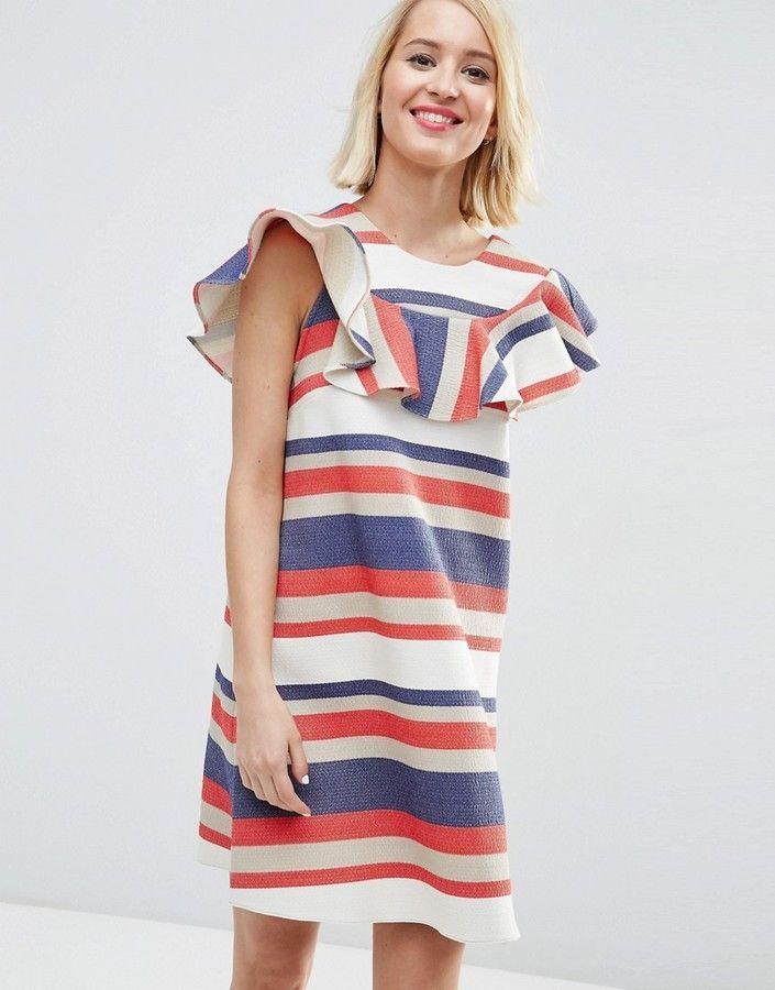 ASOS COLLECTION ASOS Natural Fibre Frill Front Shift Dress in Bold Stripe