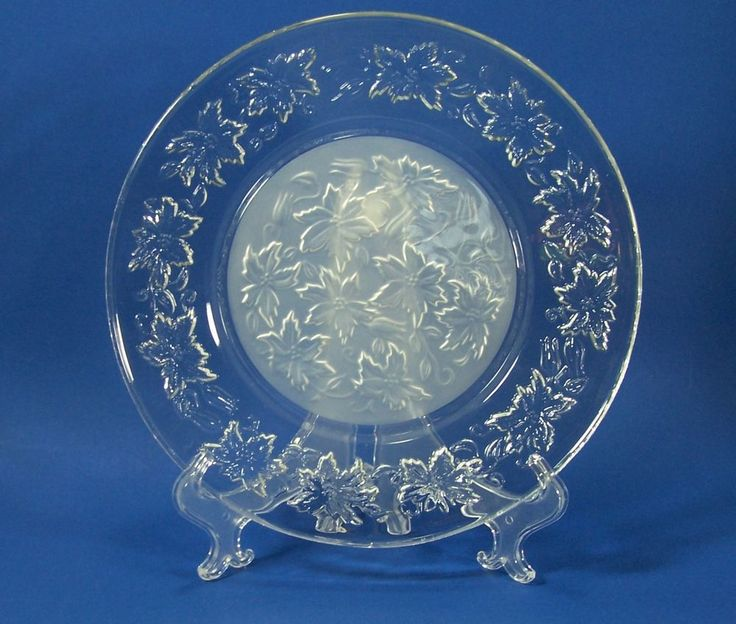 Princess House Fantasia 10  Dinner Plate Dish Crystal Glass Poinsettia #PrincessHouse  sc 1 st  Pinterest : princess dinnerware - Pezcame.Com