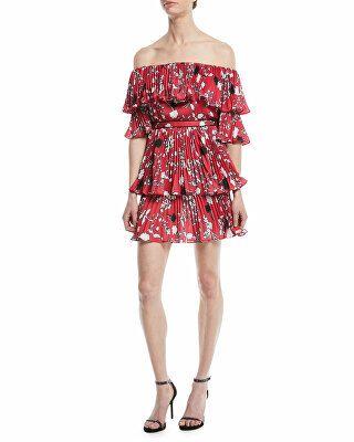 490e229a3e5 Self-Portrait Designer Pleated Off-the-Shoulder Floral-Print Mini Dress